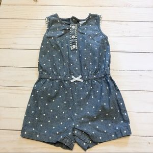 Chambray romper with polka dots
